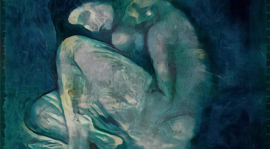 """A pintura de uma mulher agachada e nua estava escondida sob a obra """"A Refeição de um Homem Cego"""", de 1903"""