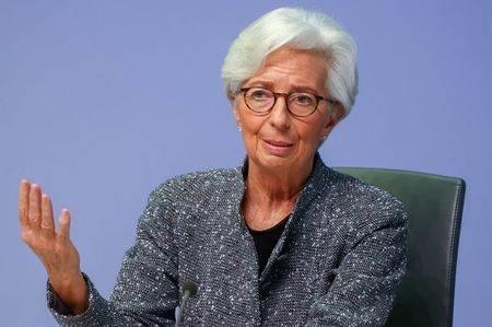 Presidente do Banco Central Europeu (BCE), Christine Lagarde, participa de coletiva de imprensa em Frankfurt, Alemanha