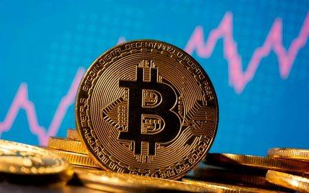 Representação da moeda virtual bitcoin.