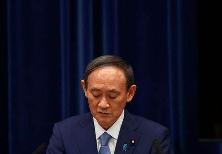 Primeiro-ministro do Japão, Yoshihide Suga, duante entrevista coletiva em Tóquio