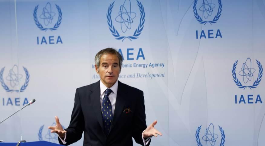 Diretor-geral da Agência Internacional de Energia Atômica (AIEA), Rafael Grossi, durante entrevista coletiva na sede da entidade em Viena